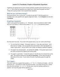 Lesson 5 2 Parabolas Graphs Of Quadratic Equations