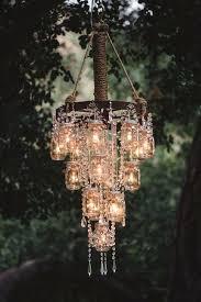 outdoor chandelier with solar lights mason jar chandelier so pretty and unique for wedding via deer