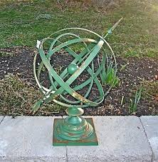 outdoor armillary sphere details about iron sphere sundial rustic antique green large outdoor armillary sphere