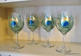 yinterior diy hand painted wine glasses with peacock feather design tutorial glass painting ideas yinterior