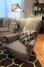 plush design ideas overstuffed wingback chair rvaloanofficer turesque grey armchair ikea round back dining room chairs