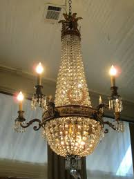 vintage chandelier crystals parts antique dome crystal from strand theatre nyc at necklace brass and chandeliers for sal classic lighting versailles light
