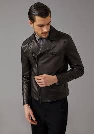 biker jacket in plongé leather