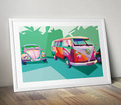 modern wall art canvas vw beetle vw campervan