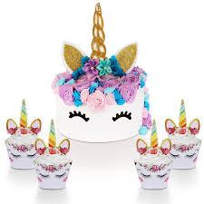 Unicorn Cake Topper With Eyelashes And Unicorn Cupcake Toppers