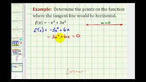 ex determine the points where a function has horizontal tangent lines you