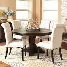 french baroque designed round dining set with rolled back on tufted chairs