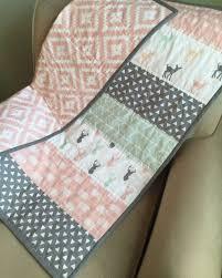 Best 25+ Baby quilt patterns ideas on Pinterest | Quilt patterns ... & Woodland Baby Blanket, Baby Quilt, Modern Quilt, Pink, Gray, Mint, Peach,  Baby girl Blanket, Deer, Arrows, Aztec Adamdwight.com