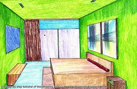 One Point Perspective Bedroom Color Pencil Drawing