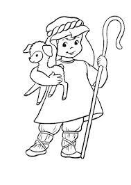 Herder Met Een Lammetje In Zijn Armen Kleurplaat Gratis