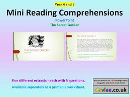example evidence for teaching standards bullets by mgblanchard mini comprehensions powerpoint for year 4 and 5 children the secret garden