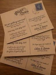 Personalised Informal Vintage Postcard Wedding Invitations Packs Of