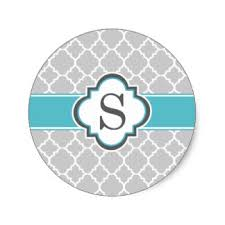 gray teal monogram letter s quatrefoil classic round sticker r ff7a a8e65c140aeead97c v9waf 8byvr 324