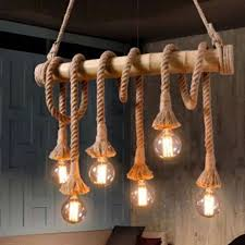bamboo pendant light. 6 Head Industrial Vintage Hemp Rope Chandelier Pendant Light Bamboo Ceiling Lamp D