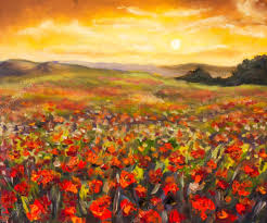 colorful field of red poppies at sunset hand made oil painting on canvas impressionist art photo by weris7554