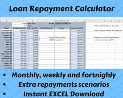 Auto Loan Calculator In Excel Loan Repayment Calculator Tracker Excel Instant Digital