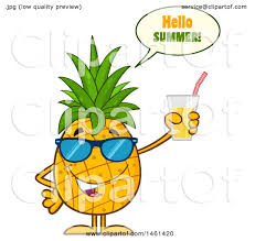 pineapple with sunglasses clipart. clipart of a male pineapple mascot character wearing sunglasses, saying hello summer and holding juice - royalty free vector illustration by hit toon with sunglasses