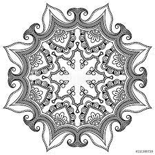 Fotografie Obraz Vector Henna Tetování Mandala Mehndi Styl