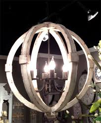 antiqued white distressed cottage wood orb chandelier white washed wood sphere chandelier