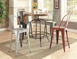 Bar Table And Chairs Set Lahrer 122097 5pc Bar Table Metal Chairs Set By Coaster