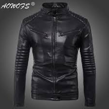 drop leather jacket men autumn slim fit faux leather jacket motorcycle er leather jackets coats big