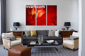 Living Room Wall Art And Decor 3 Piece Canvas Red Rose Flower Art