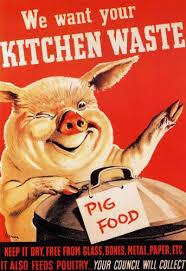 2W86 Vintage 1940u0027s WWII We Want Kitchen Waste Pig Food World War 2 WW2  Poster