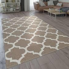 Orient Teppich Beige Braun Wohnzimmer Küche Web Muster Marokkanisches Design Grösse160x220 Cm