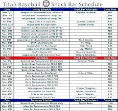 Team Snack Schedule Template Free Game Schedule Template