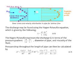 shear stress and velocity distribution in pipe for laminar flow the discharge may be found using