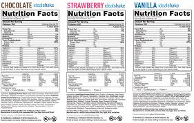 ideal shake nutrition label new