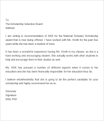 Sample Reference Letter For Student Scholarship Necessary Drawing