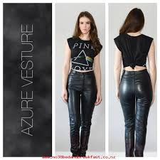 womens clothes high waisted leather pants real leather high rise fitted 1980s 1990s motorcycle rocker grunge retro xs small size 25 hcksbccfwe