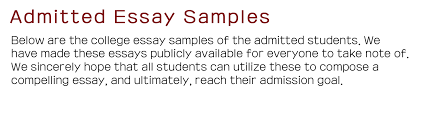 admitted essay samples envision high