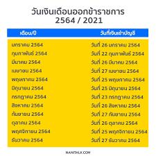 วันเงินเดือนออกข้าราชการ 2564 / 2021 เงินเข้าวันไหนมาดูกัน!