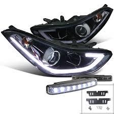 2018 hyundai elantra aftermarket headlights. Spec D Tuning For 2011 2018 Hyundai Elantra Glossy Black Led Projector Headlights 8 Led Bumper Fog Left Right 2011 2012 2013 2014 2015 2016 2017 2018 Walmart Com Walmart Com