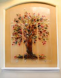 Small Picture Tree of Life Fused Glass Wall Mural Designer Glass Mosaics
