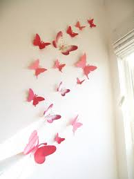 Items similar to 15 3D Paper Butterflies, 3D Butterfly Wall Art, Wall  Decor, Butterfly Silhouettes, Red, Pink,Nursery, Baby, Wedding, Baby  Shower, ...