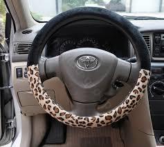 leopard car front rear seat covers plush universal 19pcs black more images
