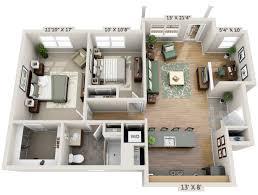 two bedroom study 3d floor plan