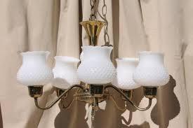 vintage hobnail milk glass shades chandelier shabby cottage chic farmhouse hanging light