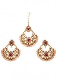 stone studded chaandbali earrings