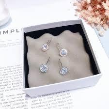 <b>Female</b> silver needle earrings round zircon earrings <b>fashion</b> ...