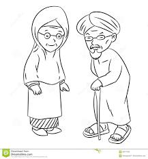 Disegno A Tratteggio Del Vettore Malese Anziano Del Personaggio Dei