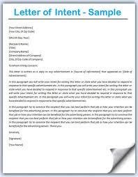 Letter Of Intent Job Sample Resume Target