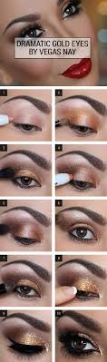 dramatic gold eye makeup tutorial gorgeous easy makeup tutorials for brown eyes