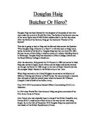 was field marshal general sir douglas haig a hero or the butcher teacher marked douglas haig butcher or hero