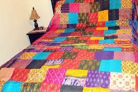 King Queen Size - Ikat, Patchwork Quilt Sofa Throw Bed Spread ... & King Queen Size - Ikat, Patchwork Quilt Sofa Throw Bed Spread Blanket Adamdwight.com