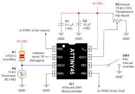 dual fan controller robot room schematic of fixed resistor thermistor voltage divider and potentiometer voltage divider by
