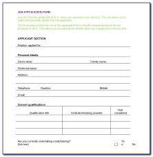 Job Application Form Template Word Format Uk Form Resume